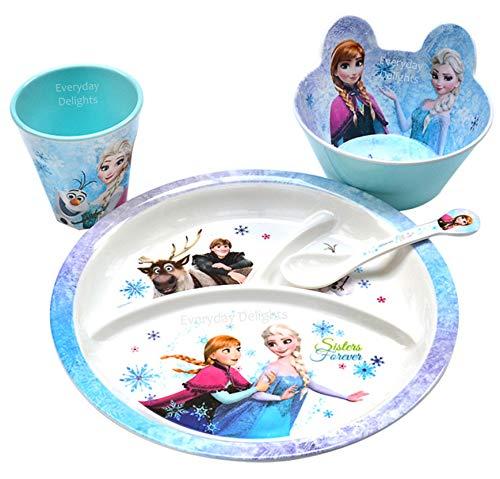 Disney Frozen Queen Elsa & Princess Anna Juego de vajilla para niñas y niños pequeños - Plato taza cuchara, 4 piezas