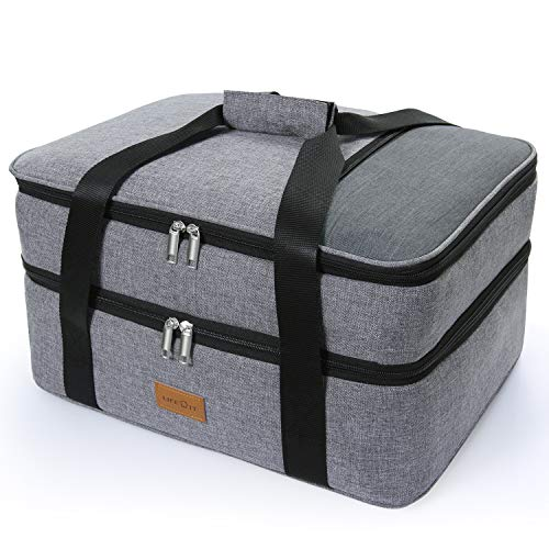 LUNCIA Double Decker Casserole Carrier Lasagna Lugger for Potluck Parties/Picnic/Beach, Thermal Lunch Bag Tote to Keep Food Hot/Cold, 15.7 x 11.4 x 8.3Inch Grey