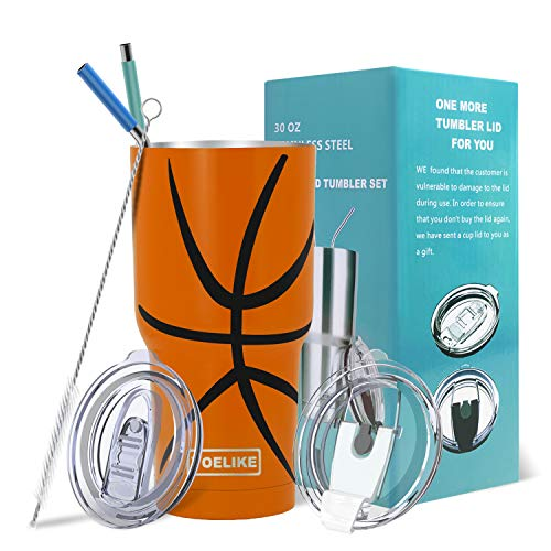 Yoelike Basketball Tumbler 30 oz Stainless Steel Double Wall Vacuum Insulated Cup with Straws, Splash Proof Lids, Straw Clean Brush, Tips for Fan Coaches Mom Men Sports Travel, Keep Drink Cold and Hot