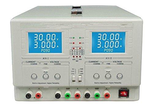 GOWE Dual Channel salida regulada DC fuente de alimentación variable 0-30V/0-3A, regulable