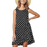 TianSe Women's Casual Sleeveless Round Neck Polka Dot Loose Mini Pocket A-Word Ruffle Dress (Black, L)