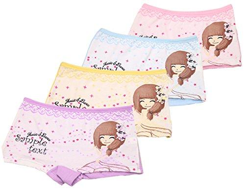 FAIRYRAIN 4 Packung Baby Kleinkind Mädchen Briefdruck Baumwollunterhosen Pantys Hipster Shorts Spitze Unterwäsche 6-8 Jahre