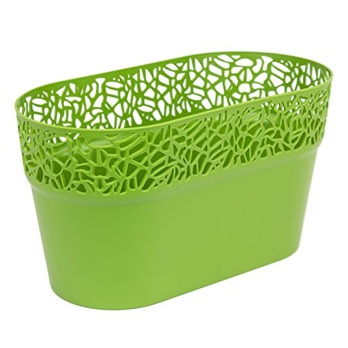 Ovale cache-pot NATURO plastique romantique style, vert d'olive