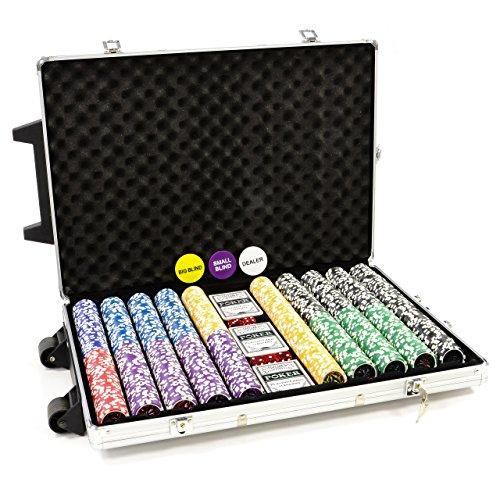 Trolley Pokerkoffer 1000 OCEAN CHAMPION Chips Laser Pokerchips Poker Komplett Set Trolley Koffer aus Aluminium mit Schnallenschloss + Schlüssel + Griff und Rädern 11g Chip mit Metallkern inkl. Kunststoffkarten und weiterem Zubehör