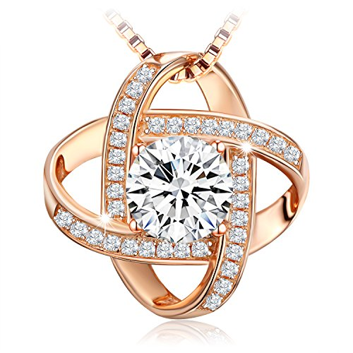 J.Rosée Necklace, 925 Sterling Silver 3A Cubic Zirconia Pendant Necklace Fine Jewelry for Women Never Ever Be Apart The Best Gift for Mother Wife Girlfriend, 18''+ 2