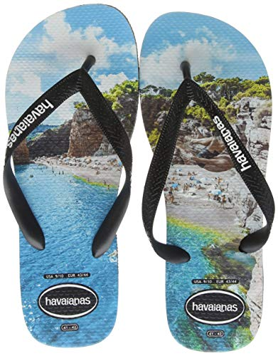 Havaianas Women's Flip Flop Sandals, Multicolour Black/Turquoise 7661, 8.5 (43/44 EU)
