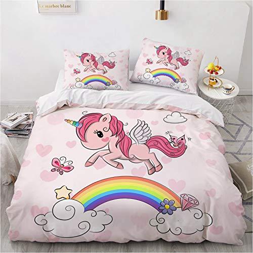 Set di biancheria da letto per bambine con unicorno e arcobaleno, con federe coordinate, colore rosa, matrimoniale king
