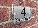 Targhetta per il numero civico e la via dell'abitazione, in stile moderno, personalizzabile