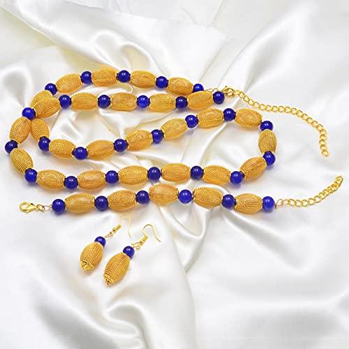 UCJHXFR Ucjhxfr82 cm Mujer Cadena de perlas gruesa 22 cm Pulsera y pendientes Dorados Perlas Africanas Party Set # 171706