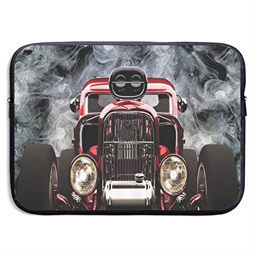 American Hot Rod Roadster with Smoke Background 13-15 Inch Laptop Sleeve Bag - Tablet Clutch Carrying Case,Water Resistant, Black-13 Inch