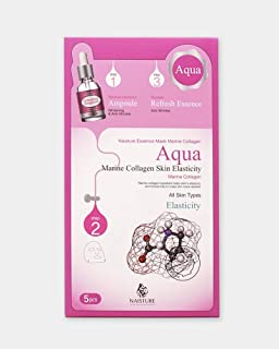 Naisture Aqua Face Mask Pack (5 Sheets), 3 Step Full Facial Treatment with Marine Collagen for Dry Skin - Elasticity