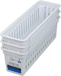 Slim Plastic Storage Trays Baskets in White- Set of 3