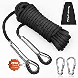 RENRANRING Outdoor Climbing Rope 10M(32ft) Static Rock Climbing Rope, Escape Rope Ice Climbing Equipment Fire Rescue Parachute Rope (Black)