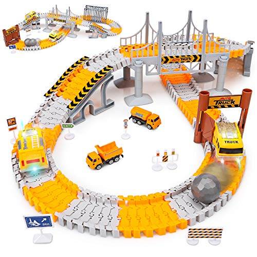 Image of Engineering Tracks car for kids toys,161pcs Create A Engineering World Road Race,Flexible Track Playset and 2 pcs Cool Engineering Car for 3 4 5 6 7 Year & Up Old boy Girls Best Gift