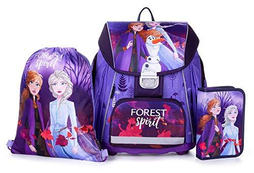Disney Eiskönigin Frozen Schulranzen Mädchen 1 Klasse Tornister Schulrucksack Schultasche Set 4 teilig für Grundschule super leicht ergonomisch und anatomisch ! inkl. Regenschutz von Maximustrade