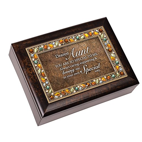 Aunt You Are Special To Me Amber Earth Tone Jeweled Music Box Plays Edelweiss