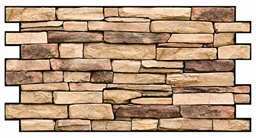 PVC Plastic Wall Panels 3D Decorative Tiles Cladding - Natural Stone Slate (Pack 10 pcs/4.9 sqm)