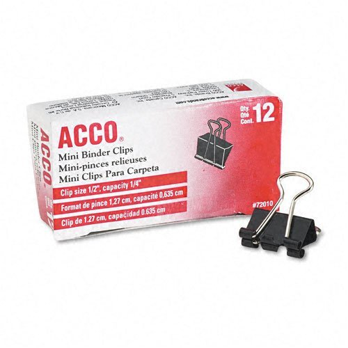 """ACCO : Mini Binder Clips, Steel Wire, 1/4"""" Cap., 1/2""""w, BLK/Silver, Dozen -:- Sold as 2 Packs of - 12 - / - Total of 24 Each"""
