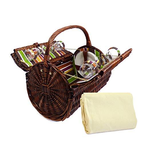 Luxus Picknickkorb \'Cantley\' für 4 Personen Mit Creme Farbener Fleece Decke - Das Ideale Geschenk Zum Geburtstag, Jahrestag , Hochzeit
