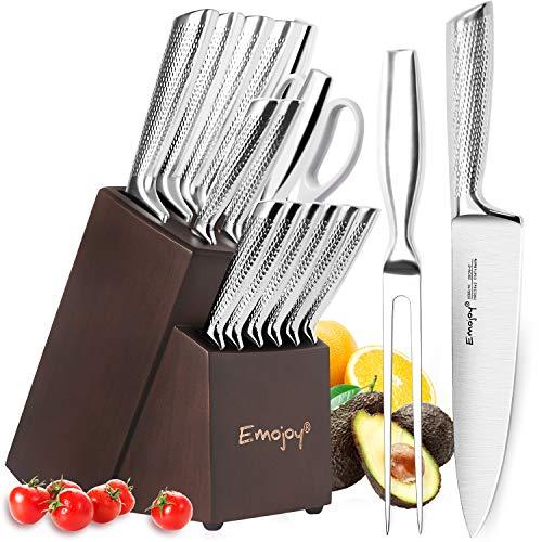 Emojoy Messerblock, 16-teiliges Messerset, Edelstahl Küchenmesser Set mit Holzblock, Rutschfester Griff Kochmesser, Profi Küche Messer