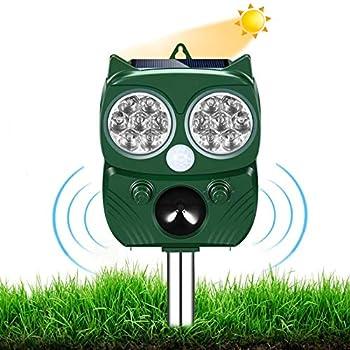 Répulsif Chat Ultrason,Repulsif Chien, Charge Solaire,Chargement USB Prévenir Les Chiens et Les Chats, Les Oiseaux, pour Jardins, Champs, Pépinières, Etanche IP66