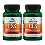 Swanson Vitamin D-3 5000 IU Bone Health Immune Support Healthy Muscle Function D3 Supplement (cholecalciferol) 125 mcg 250 Softgels Count 2 Pack