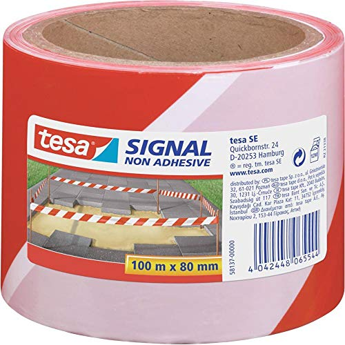 tesa Absperrband, nicht klebend, rot-weiß, 100m x 80mm
