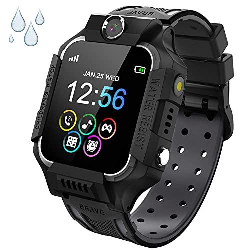 PTHTECHUS Reloj Inteligente Niño de Podómetro, Impermeable Smartwatch Niños con 14 Juegos SOS Llamada MúSica Linterna Cámara Despertador Regalos para niños de 4 a 12 años (Y19-Black)