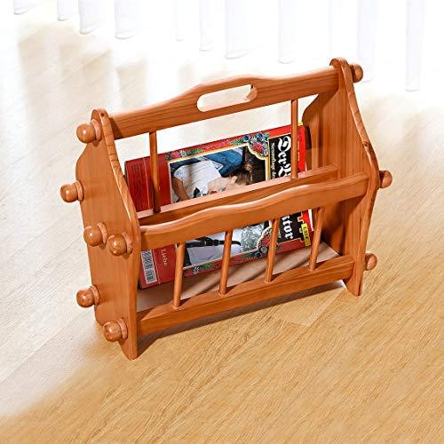 Dekoleidenschaft Zeitschriftenständer aus Holz, braun, 2 Fächer, Magazinhalter, Zeitungskorb