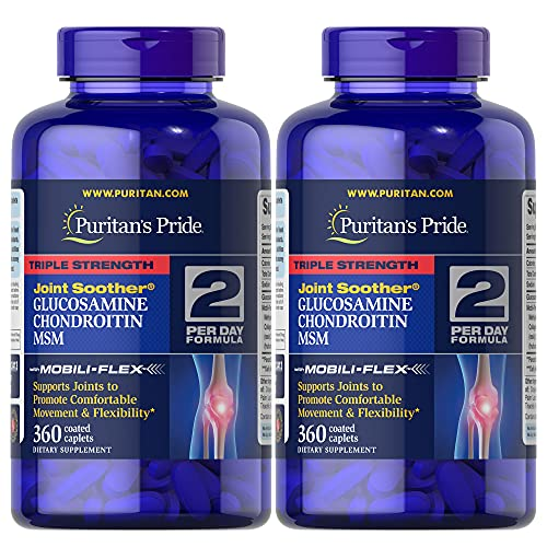 Puritan's Pride Triple Strength Glucosamine, Chondroitin & Msm Joint Soother, 720 Total (2 Pack Of 360 Count Caplets), 720 Count