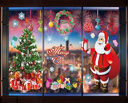 Tuopuda Christmas Window Stickers Large Santa Claus Xmas Tree Gift Box Candy Socks Clings Ornament DIY Wall Door Mural Decal Sticker for Showcase (C)