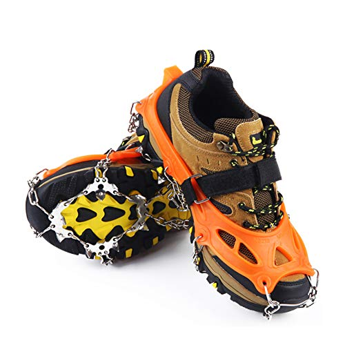 Casimy 19 Dientes Garras Acero Inoxidable Cadena Crampones Bota De Montaña Antideslizante Zapatos Cover para Camping y Alpinismo en Esquí Hielo Nieve Senderismo al Aire Libre Deportes Al Aire Libre