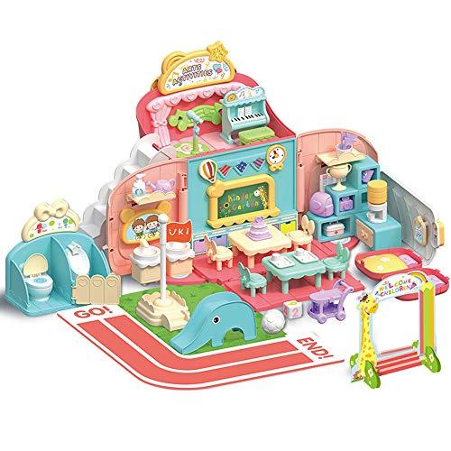 Nye Kindergarten Simulation Scene, Play House Children's Toys, Solve School Anxiety, Bring Storage Backpack, Bring Box, Pink