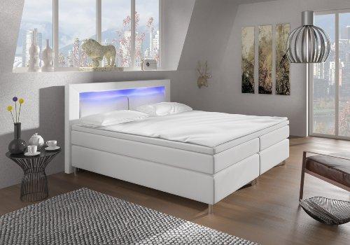 Wohnen-Luxus Boxspringbett 180x200 Weiß mit LED Beleuchtung und Chromleisten Hotelbett Doppelbett Polsterbett Ehebett amerikanisches Bett Chrom Modell Brüssel Typ 3 (180x200)