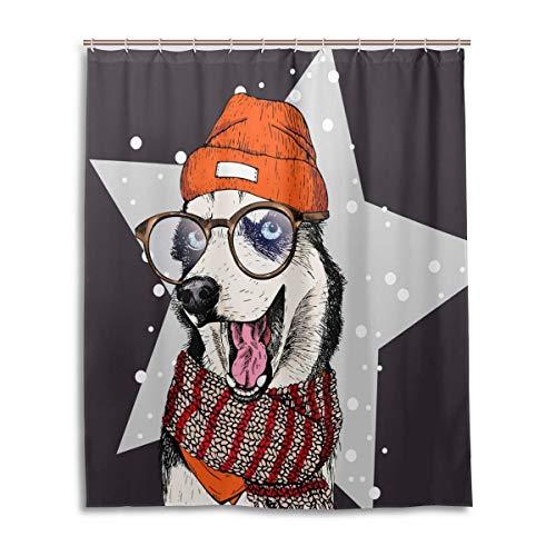 Douchegordijn van 60 W x 72 h inch, met haken, husky, dog wearing, beanie, bril en sjaal, waterdicht polyester, voor de badkamer