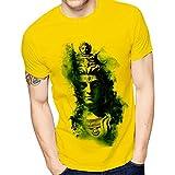 HILGAR Men's Regular Fit T-Shirt (HilGar Round Mix Yellow Large)
