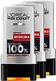 L'Oréal Men Expert Invincible Parfum Intense Gel Douche pour Homme 300 ml - Lot de 3