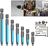 Juego de brocas magnéticas antideslizantes de 7 piezas, Juego de puntas de destornillador eléctrico Antideslizante S2 Brocas magnéticas cruzadas de acero PH2 (7PCS)
