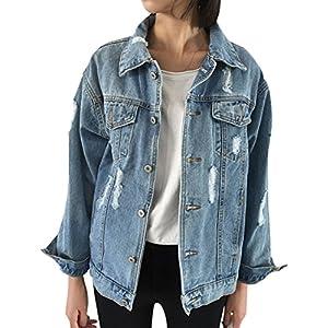 Oversize Denim Jacket for Women Ripped Jean Jacket Long Sleeve Coat