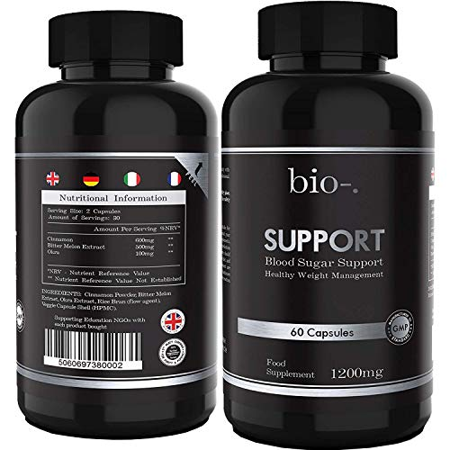 Bio-Support 1200 mg – 60 Capsules – All in One Cinnamon Supplement with Okra and Bitter Melon Extracts - Blood Sugar Regulation and Metabolism Booster - Vegan & Gluten Free - Made in UK