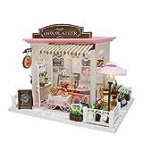 Aparador de maquillaje de espejo de glamour de niñ Diy House Villa Ideas creativas Cubierta de ensamblaje Manual Asamblea Modelo Juguete de madera Regalo de cumpleaños Muñecas de madera Casa con muebl