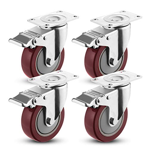 Meditool 4pcs 100mm Ruote girevoli Gomma,Ruote per mobile,con freno,Capacità di carico massima 400KG