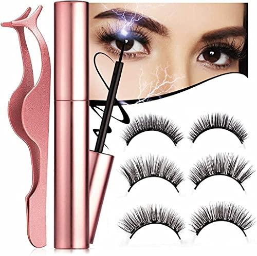 Ciglia Magnetiche Finte Eyeliner Eyelashes Kit 3 Paia con Pinzetta Naturali Professionali Waterproof Sopracciglia Magnetico Riutilizzabili Senza Colla Brandiing