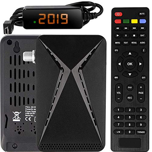 Echosat OM-26100 Mini Sat Receiver -DVB S/S2 Satelliten Receiver ✓Full HD ✓1080 P ✓HDMI ✓2 x USB 2.0 ✓HDTV [Digital Satelliten Receiver] 🛰️{Astra Hotbird Türksat }🛰️-Schwarz