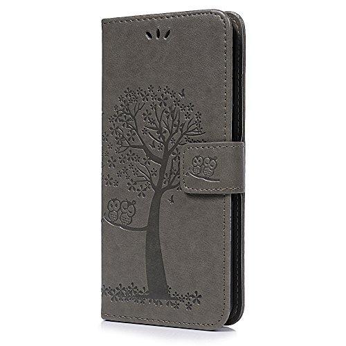 YOKIRIN Huawei Honor 7X Lederhülle Hülle Case für Huawei Honor 7X Flipcase Tasche Handyhülle Etui Eule Baum Muster PU Leder Schutzhülle Schale Kartenfächer Magnetverschluss Handyhalter Grau - 2