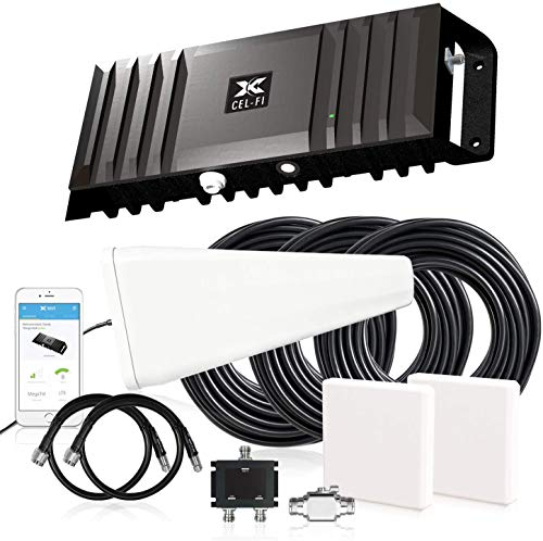 Cel-Fi GO X   Cell Phone Signal Booster   2 Directional Panel Antenna Bundle Kit - All Accessories Included   Multi-Carrier Support with Carrier Switching   Up to 100 dB Multiuser Gain