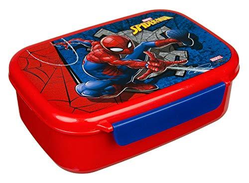 Scooli SPID9903 Brotzeitdose aus Kunststoff mit Zwei Clips, Marvels Spider-Man, leicht zu öffnen und zu schließen, BPA und Phthalat frei, ca. 18 x 13,5 x 6 cm