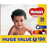 HUGGIES Snug & Dry Baby Diapers, Size 3 (Fits 16-28 Lb.), Huge Pack (Packaging May Vary), 198 Count
