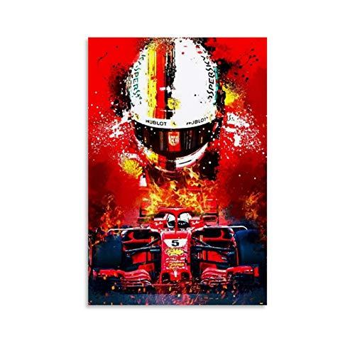 Sebastian Vettel F1 Poster, dekoratives Gemälde, Leinwand, Wandkunst, Wohnzimmer, Poster, Schlafzimmer, Malerei, 30 x 45 cm