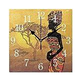 WowPrint Quadratische Wanduhr, afrikanische Frau, Acryl, Nicht tickend, dekorative Kunst-Gemälde für Büro, Klassenzimmer, Schlafzimmer, Wohnzimmer, Badezimmer, Küche, Dekor